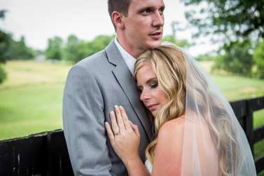 Sweet and vibrant summer wedding at Warrenwood Manor, bride & groom portrait