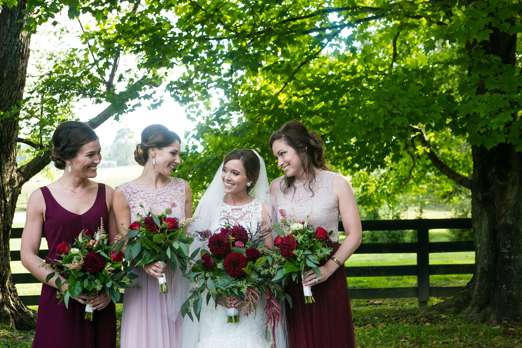 Mix and match bridesmaid dresses for fall in burgundy and blush