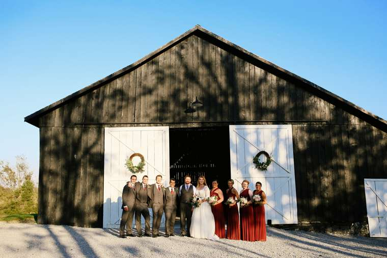 Fall rustic elegant farm wedding in Kentucky, burgundy and blue-grey
