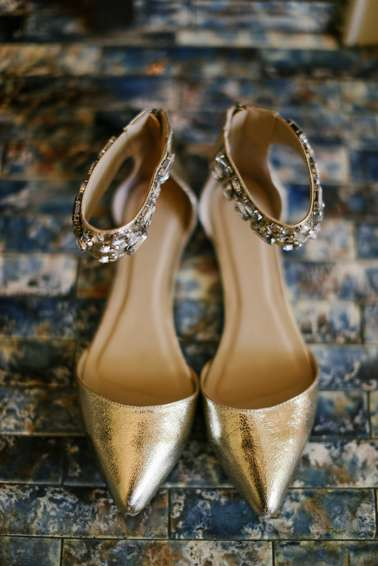 Gold bridal shoes with ankle strap