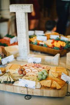 Cheese board for wedding cocktail hour food