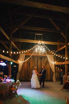 First Dance at fall wedding reception in Warrenwood Manor barn
