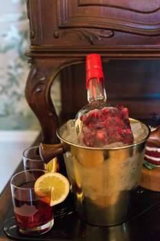 How to display bourbon for winter party or wedding, cranberrys