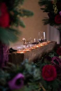 Antique sugar mold on head table for Kentucky winter wedding