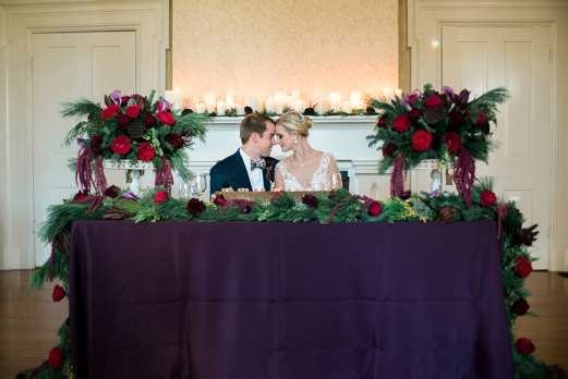 Bride & Groom at winter wedding of purple, red and burgundy