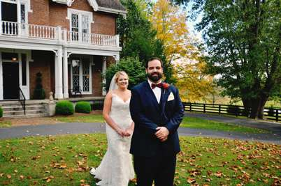 First look with bride and groom at Kentucky estate wedding