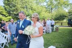 Bride and her father enter vintage glam wedding ceremony