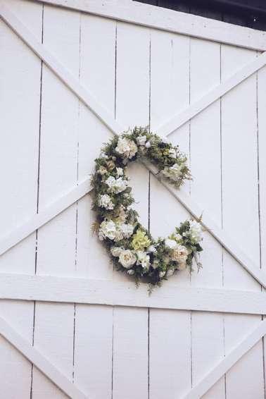 Floral Initials on barn doors