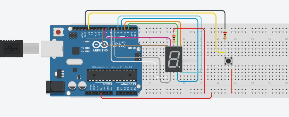 Seven Segment Menggunakan Push Button dengan Arduino UNO - Counter UP