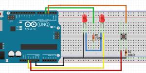 Lampu LED Flip-Flop (Blingking LED) 1 PIN Output dengan ONOFF Push Button Menggunakan Arduino