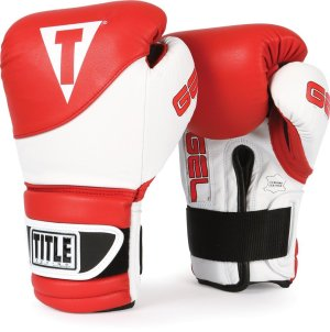 TITLE Gel Boxing Gloves White Red
