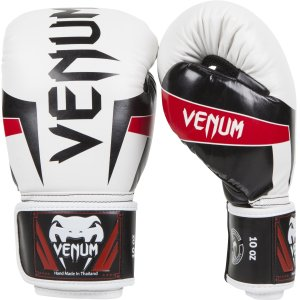 Venum Elite Boxing Gloves White-Black-Red