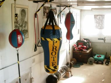 A basic, no-thrills home boxing gym