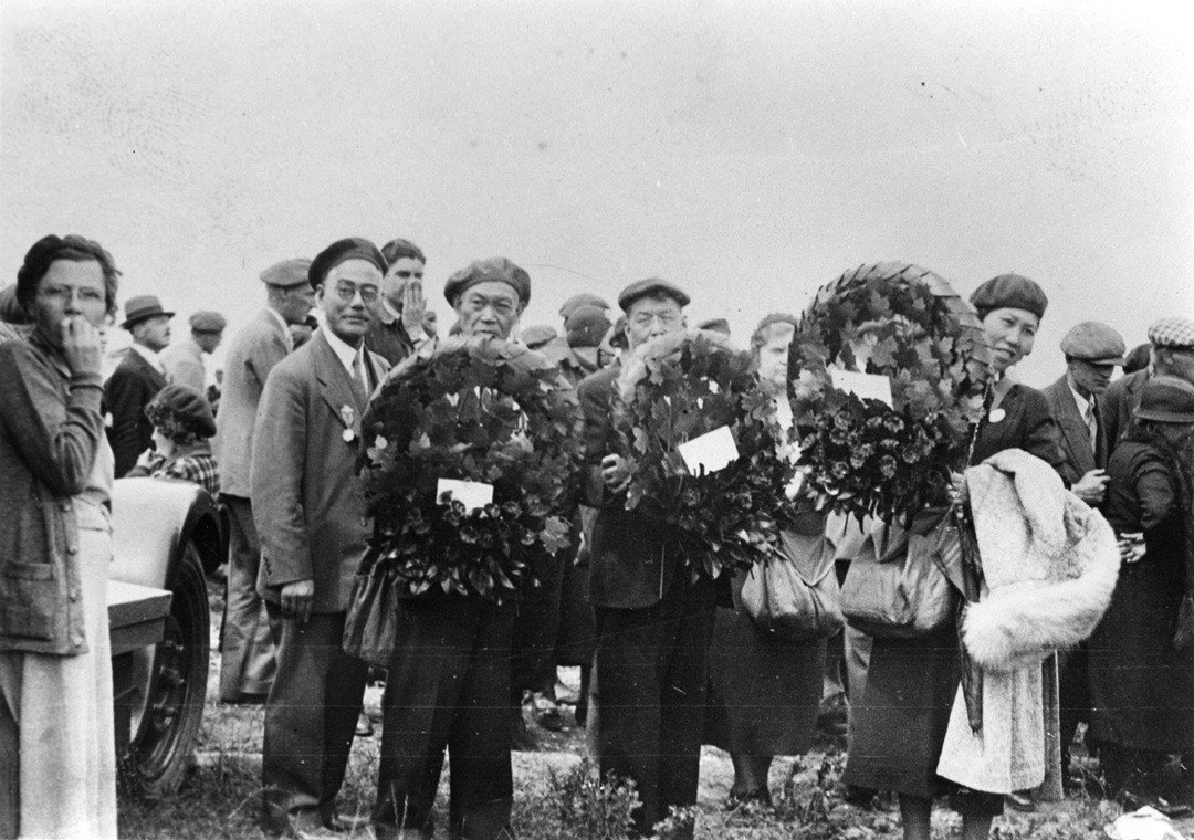 L-R Saburo Shinobu, Bunshiro Furukawa, Eikichi Kagetsu, and Toyo Kagetsu at the Vimy Memorial monument in France, 1936. NNM 2001.4.4.5.61
