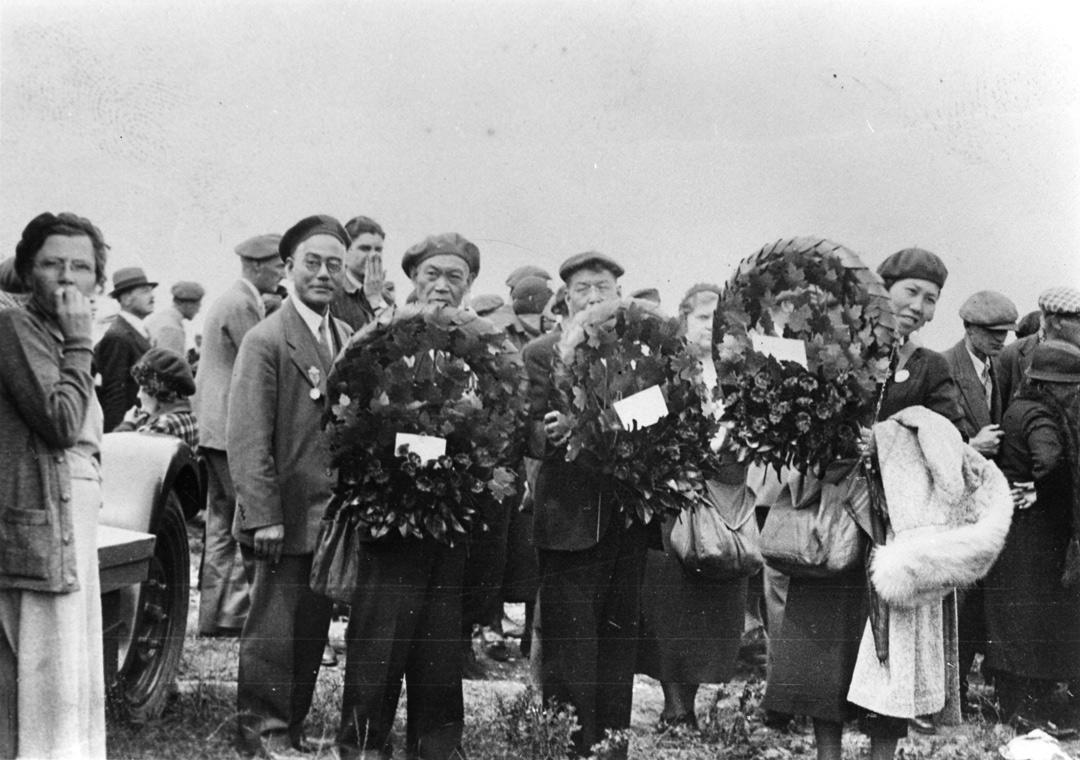 L-R Saburo Shinobu, Bunshiro Furukawa, Eikichi Kagetsu, and Toyo Kagetsu at the Vimy Memorial monument in France, 1936. NNM 2001.4.4.5.61
