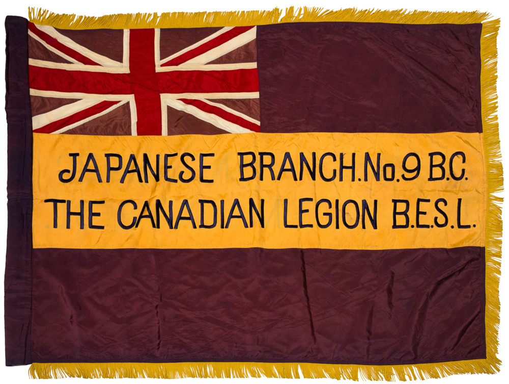 Flag for Japanese Branch #9 of the Canadian Legion, British Empire Service League (BESL), circa 1920s. Japanese Canadian War Memorial Committee collection, NNM 2016.5.1.2.1