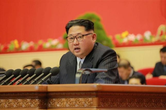 North Korean leader Kim Jong Un speaks during the Workers' Party