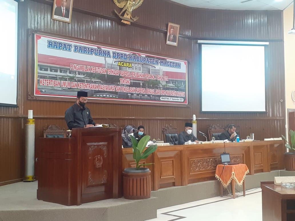 DPRD Magetan Gelar Rapat Paripurna Agenda Pengambilan Keputusan Raperda perubahan Perda No.3 Tahun 2014
