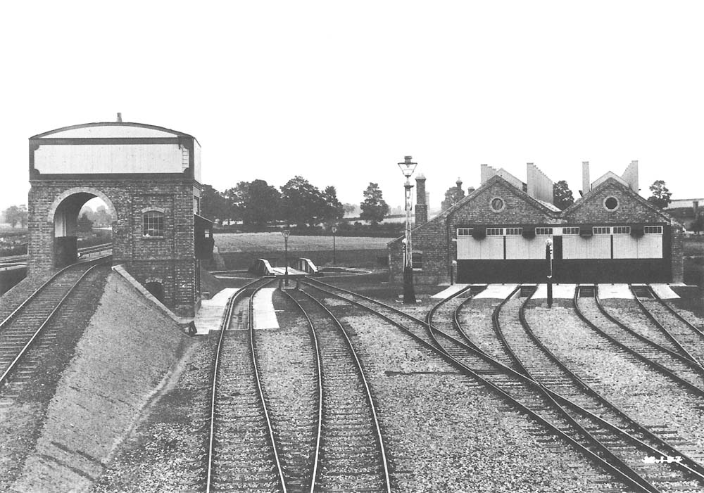 View of the three main components of the 1906 engine shed, the coal stage, the turntable and the four-road shed