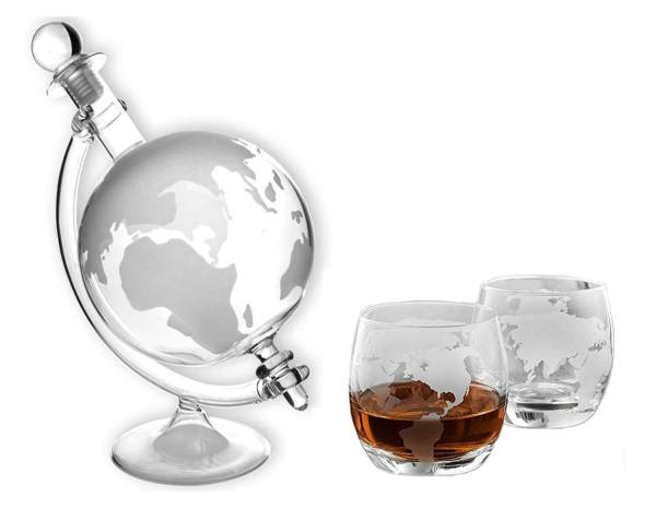 Karaffe im Globus-Design aus Glas Weltkugel