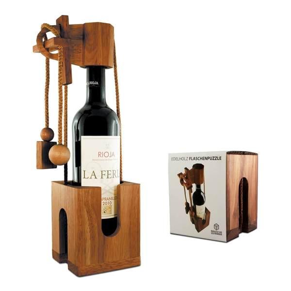 Flaschenpuzzle aus edlem Holz - Geschenke für Weinkenner Weinliebhaber Geschenke für Männer kaufen Männergeschenke 3