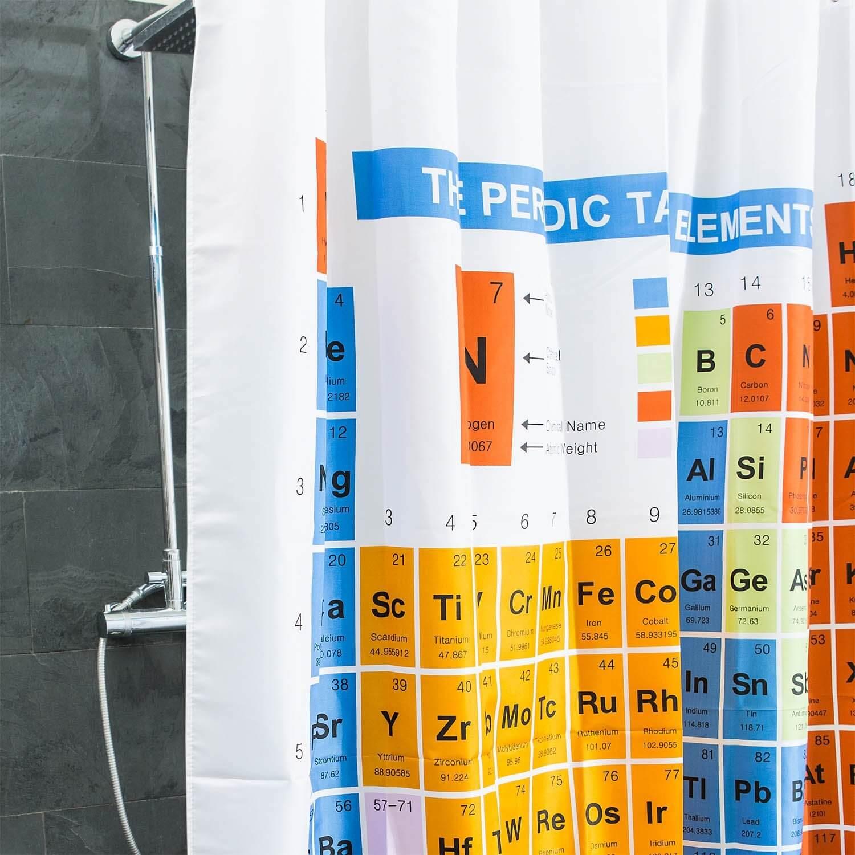 Nerd Geschenke - Die besten Gadgets für Geeks - Duschvorhang Periodensystem Badewanne Vorhang