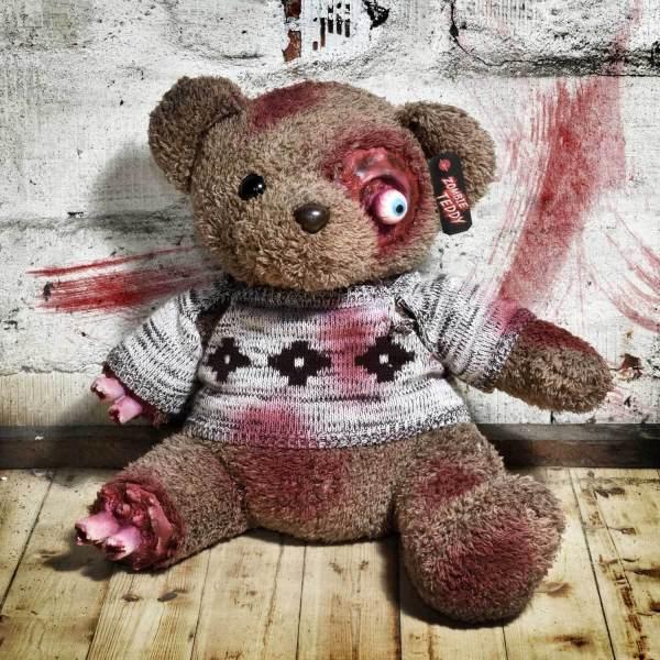 Zombie Teddy kaufen Geschenk für Horror Fans - Teddybär, Kuscheltier, Plüschtier, Stofftier - Amputierte Gleidmaßen