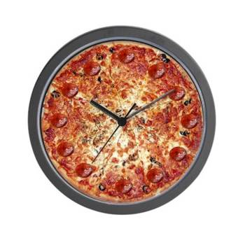 Food Design Designer Wanduhr im Pizzadesign