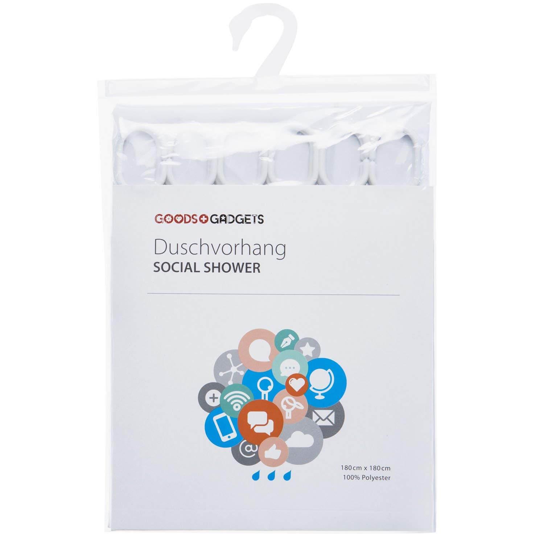 Facebook Profil Duschvorhang Social Media Badewannenvorhang witziger Spritzschutz fürs Bad