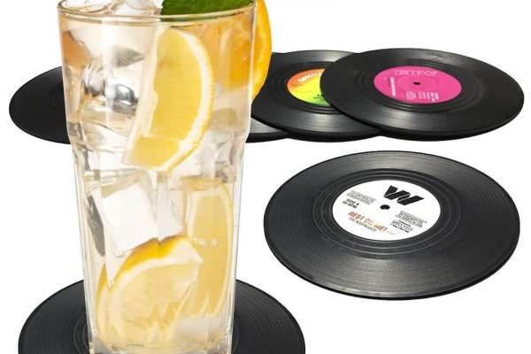 6 ausgefallene Retro Vintage Geschenke Vinyl Untersetzer
