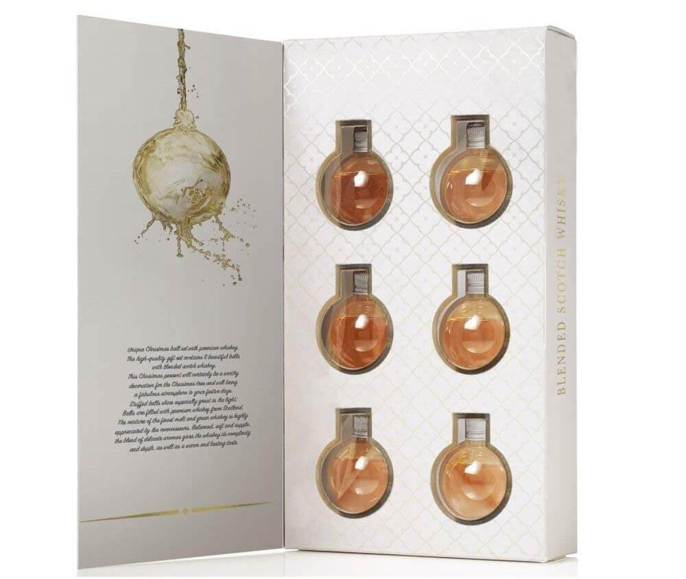 6 Whisky Weihnachtskugel - Christbaumkugeln mit Whisky gefüllt - Christbaumschmuck mit Whisky gefüllt - Weihnachtsdeko für Männer