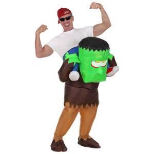 107 Carry Me Kostüm aufblasbares Frankenstein Huckepack Kostüm Frankensteins Monster Verkleidung Fabelwesen Piggyback Ride On Faschings Geschenk Karneval Kostüm Halloween JGA