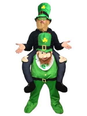113 Carry Me Kostüm dicker Leprechaun Huckepack Kostüm Kobold Einheitsgröße zum Anpassen Verkleidung Piggyback Ride On auf den Schultern Faschings Karneval Kostüm Halloween JGA