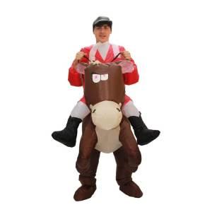 45 Carry Me Huckepack Kostüm aufblasbares Jockey Kostüm Pferde Verkleidung Tierkostüm Piggyback Ride On auf den Schultern Kostüm Faschings Karneval Halloween Junggesellenabschied