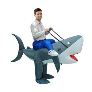 49 Carry Me Kostüm aufblasbarer Hai Gebläse Ventialtor Huckepack Kostüm Hai Verkleidung Tierkostüm Piggyback Ride On auf Schultern Faschings Karneval Halloween JGA Junggesellenabschied