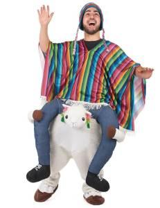 55 Carry Me Kostüm lustiges Lama Huckepack Kostüm Lama Verkleidung Tierkostüm Piggyback Ride On auf den Schultern Faschings Karneval Kostüm Halloween JGA Junggesellenabschied
