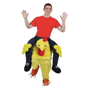 61 Carry Me Kostüm lustiges Huhn Huckepack Kostüm Huhn Verkleidung Tierkostüm Piggyback Ride On auf den Schultern Faschings Karneval Kostüm Halloween JGA Junggesellenabschied