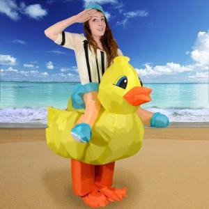 80 Carry Me Kostüm aufgeblasene Ente Huckepack Kostüm Ente Verkleidung Tierkostüm Piggyback Ride On auf den Schultern Faschings Karneval Kostüm Halloween JGA Junggesellenabschied