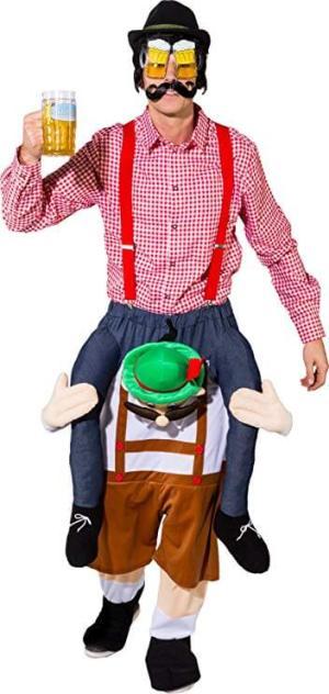 218 Carry Me Kostüm Lederhosen Bayer Huckepack Kostüm waschechter Bayer Verkleidung Fabelwesen Ride On auf den Schultern Faschings Karneval Kostüm Halloween JGA DIY