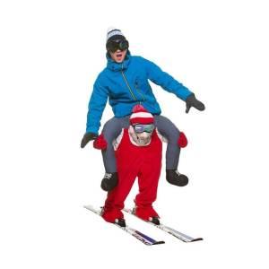 237 Carry Me Kostüm Ski Fahrer Spieler Skifahrer Kostüm Footballspieler Verkleidung Fabelwesen Piggyback Ride On auf den Schultern Faschings Karneval Kostüm Halloween JGA DIY