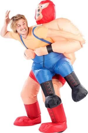 240 Carry Me Kostüm vom Wrestler gehalten Verkleidung Fabelwesen Piggyback Ride On auf den Schultern Faschings Karneval Kostüm Halloween JGA DIY