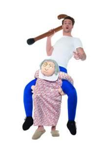 261 Carry Me Kostüm Oma Verkleidung Piggyback Ride On auf den Schultern Grossmutter Faschings Karneval Kostüm Halloween Junggesellenabschied DIY