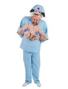 305 Carry Me Kostüm Arzt LIFT ME UP Verkleidung Piggyback Ride On auf den Schultern OP von Hebamme getragen Faschings Karneval Kostüm Halloween Junggesellenabschied DIY