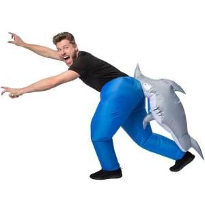 308 Carry Me Kostüm vom Hai in den Hintern gebissen LIFT ME UP Verkleidung Piggyback Ride On auf den Schultern getragen Hai-Biss Faschings Karneval Kostüm Halloween Junggesellenabschied