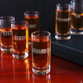 20 6 personalisierbare Schnapsgläser - personalisierte Shotgläser im edlen Design - Shot Becher - Tequila Gläser - Schnaps Becher - Stamperl - Pinneken - Pinnchen - Schott Glas - Gläser Set