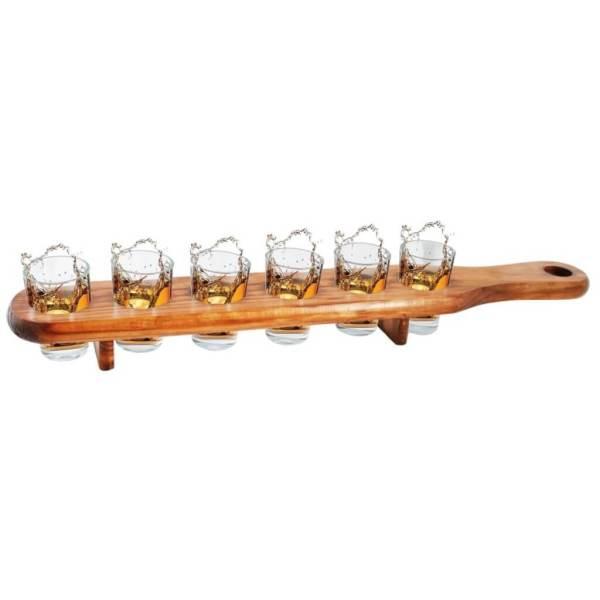 31 6 Schnapsgläser in Holzlatte - Stammtisch Shotgläser im edlen Design - Shot Becher - Tequila Gläser - Schnaps Becher - Stamperl - Pinneken - Pinnchen - Schott Glas - Gläser Set