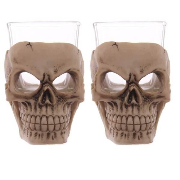 32 2 Totenkopf Schnapsgläser - Totenschädel Shotgläser Skelett - Shot Becher - Tequila Gläser - Schnaps Becher - Stamperl - Pinneken - Pinnchen - Schott Glas - Gläser Set
