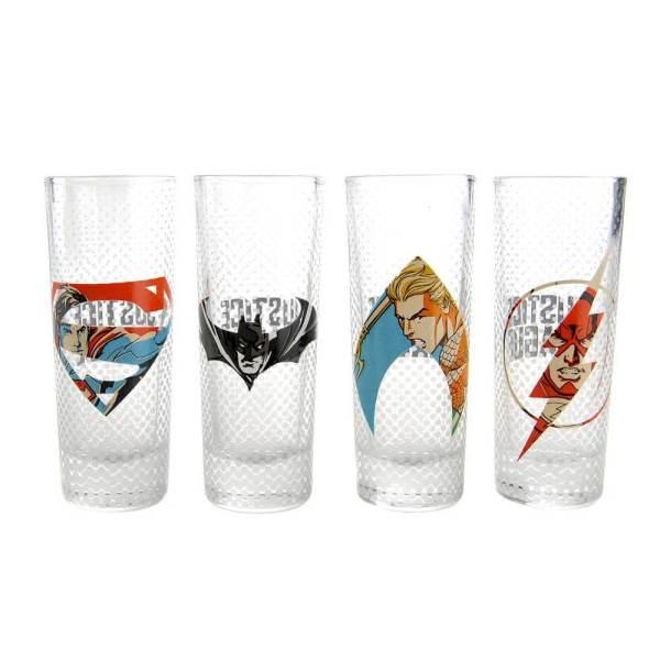 41 4 Justice League Schnapsgläser - Marvel DC Shotgläser - Batman - Superman - Flash - Shot Becher - Tequila Gläser - Schnaps Becher - Stamperl - Pinneken - Pinnchen - Schott Glas - Gläser Set