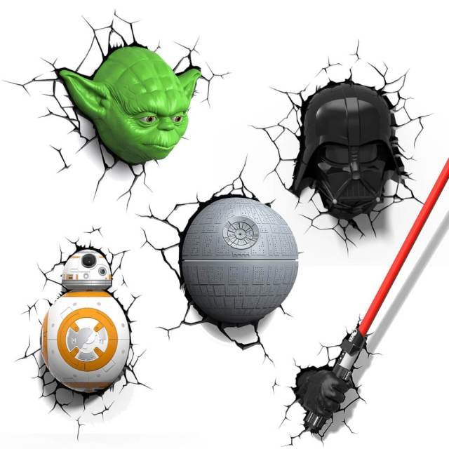 Star Wars 3D Wandlampe - Darth Vader - Superhelden Lampe - Wandlampe in 3D - Durch die Wand Lampe - 3D Lampe Star Wars