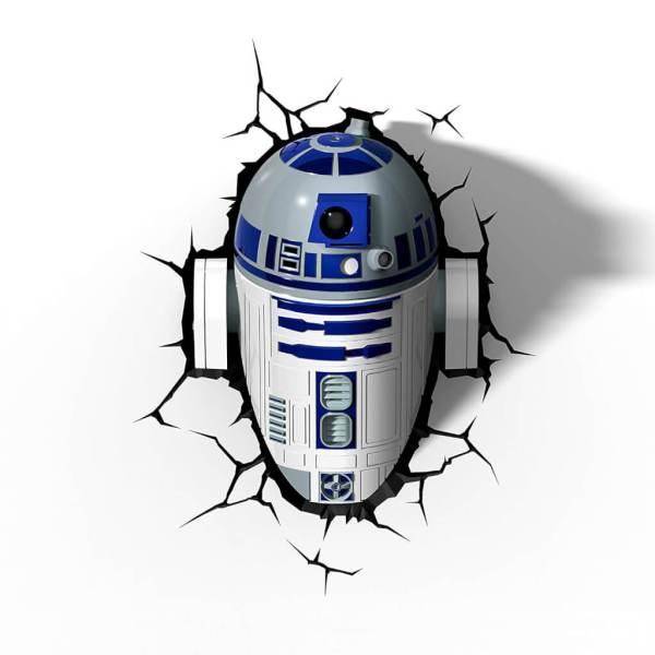 Star Wars 3D Wandlampe - R2D2 - Superhelden Lampe - Wandlampe in 3D - Durch die Wand Lampe - 3D Lampe Star Wars